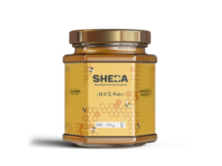 Hexagon Honey Bottle Label and Logo Design – SHEDA
